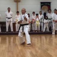 Ishii-sensei, head instructor of Matsubayashi Shorin-ryu of Little Tokyo, performs a sai kata.