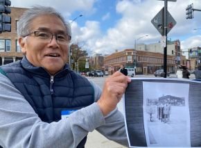 "Paul Yamauchi displays a 1960s era photo of his father standing at the same corner of Clark/Sheffield/Newport. His father, Tom, founded the Hamburger King, a fast order grill known for favorites such as Egg Foo Young, Yet Ca Mein, and the original ""Akutagawa."" Today it is Korean American owned and called Rice'N Bread, but keeps many of the old King classics on the menu."